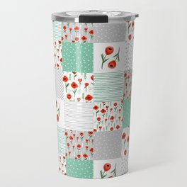 Poppies quilt pattern mint floral flowers patterned florals squares Travel Mug