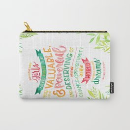 You Are Valuable & Powerful & Deserving // Hillary Clinton Quote Carry-All Pouch