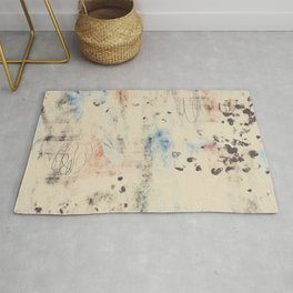Off-White Abstract with hints of Blue, Red, and Black: Scribble Series 03 Rug