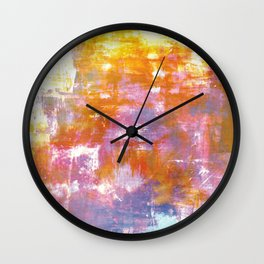 OFF THE GRID 3 Colorful Pastel Neon Purple Rust Yellow Abstract Watercolor Acrylic Textural Painting Wall Clock