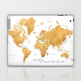 For God so loved the world, world map in gold Laptop & iPad Skin