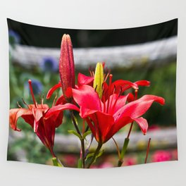 Red Lilies Wall Tapestry