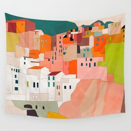 italy coast houses minimal abstract painting Wall Tapestry
