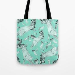 Mink in Bleu (pattern) Tote Bag