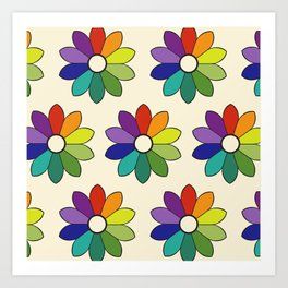 Flower pattern based on James Ward's Chromatic Circle (enhanced) Art Print