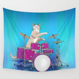Cat Playing Drums - Blue Wall Tapestry