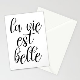 La Vie Est Belle, French Quote, Affiche Scandinave, Inspirational Poster Stationery Cards