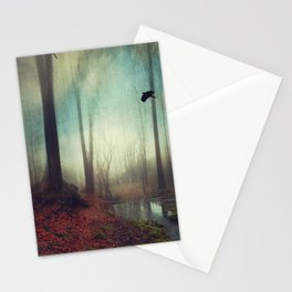 Across the Water - Moody Autumn Forest Stationery Cards