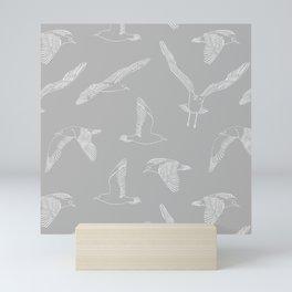 Seagulls (Gray and White) Mini Art Print