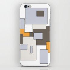 Squares - gray, orange and white. iPhone & iPod Skin