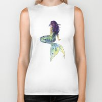 mermaid Biker Tanks featuring Mermaid by Sam Nagel