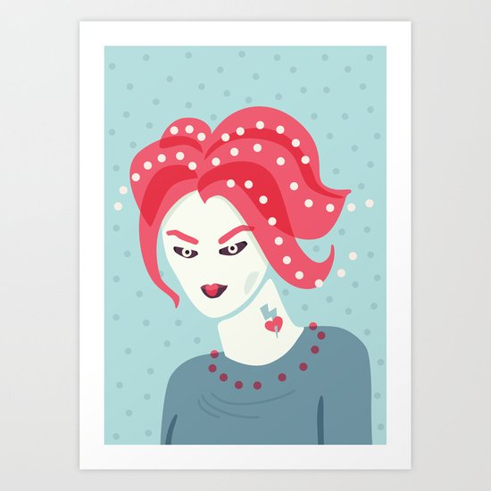 Portrait Of A Girl With Pink Hair Art Print