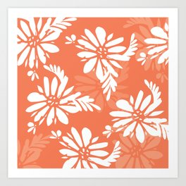Coral Florals Modern Pattern Art Print