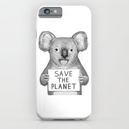 Koala save the planet iPhone Case