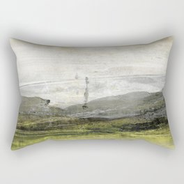 Yellow Grey White Abstract Landscape Painting Rectangular Pillow