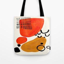Fun Abstract Minimalist Mid Century Modern Yellow Ochre Orange Organic Shapes & Patterns Tote Bag