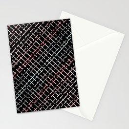 pastel grid pattern doodle on black Stationery Cards