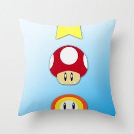 Super Mario Bros Star, Mushroom and Flower Throw Pillow