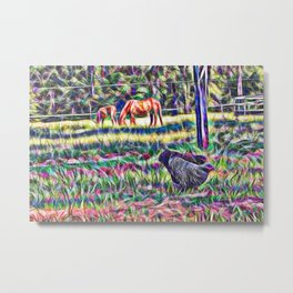 horses and hens in a field Metal Print