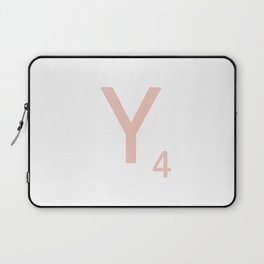 Pink Scrabble Letter Y - Scrabble Tile Art and Accessories Laptop Sleeve