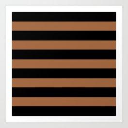 Black and brown stripes Art Print