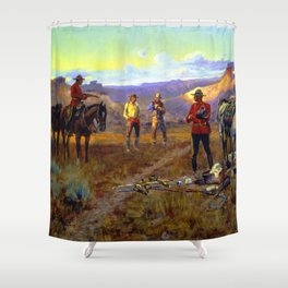 """Whiskey Smugglers"" by Charles M Russell Shower Curtain"