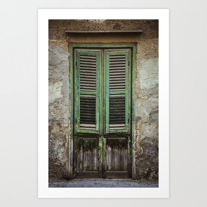 Green Window Shutters Art Print