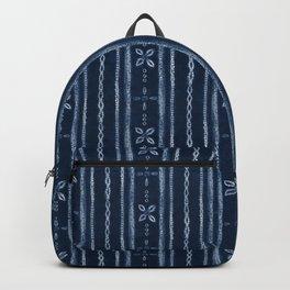 Indigo shibori floral stripes Backpack