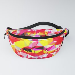 psychedelic geometric triangle polygon abstract pattern in red pink yellow Fanny Pack