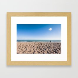 A woman and her cloud (Irish beach) Framed Art Print