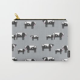 Cow farm minimal pattern animals nursery kids cattle design gifts grey Carry-All Pouch