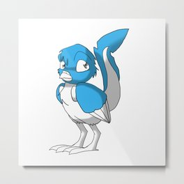 Light Blue/Color-Or-Paint-Your-Own Reptilian Bird #ArtofGaneneK #Animal Metal Print