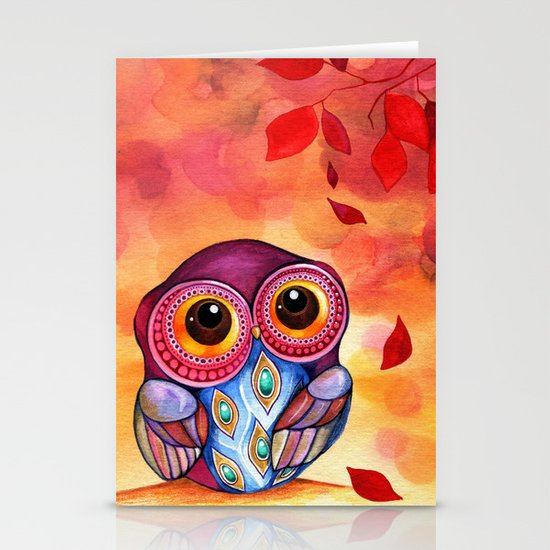 Owl's First Fall Leaf Stationery Cards