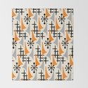 Mid Century Modern Atomic Wing Composition Orange & Gray by tonymagner
