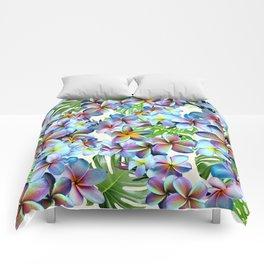 Rainbow Plumeria Pattern Comforters