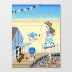 Family vacation at the beach Canvas Print