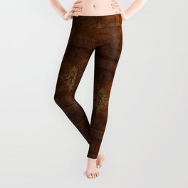 Antique Steampunk Compass Rose & Map Leggings
