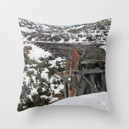 Abandoned train track Throw Pillow