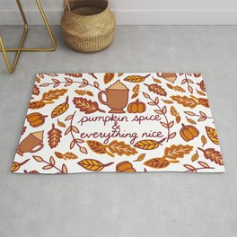 Pumpkin Spice and Everything Nice || PSL || Autumn || Fall || Autumn Leaves || Typography || Cursive || Pumpkins || Coffee || Latte Rug