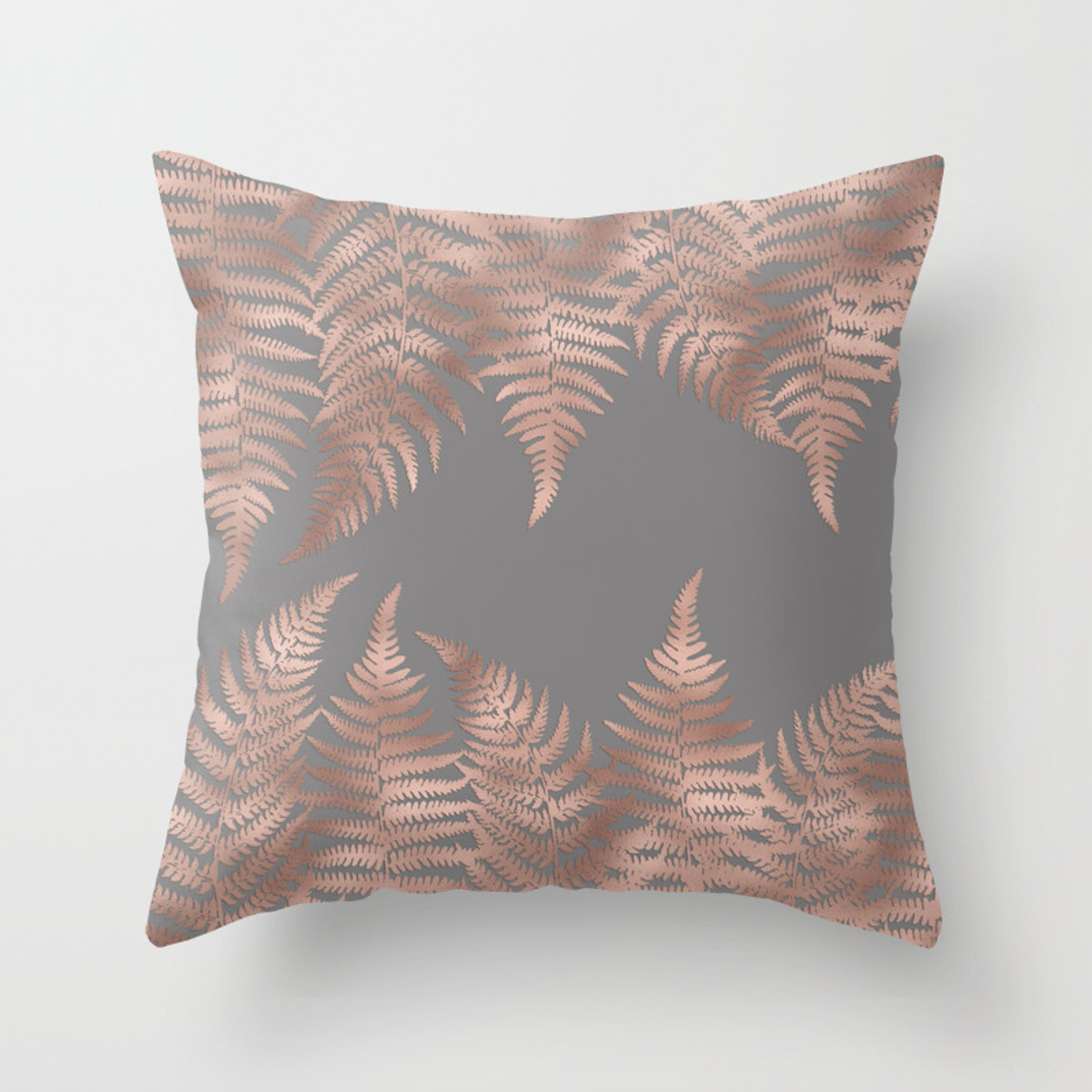 Rosegold Pink Metal Fern Leaves On Grey Background Throw Pillow By Simplicity Of Live Society6