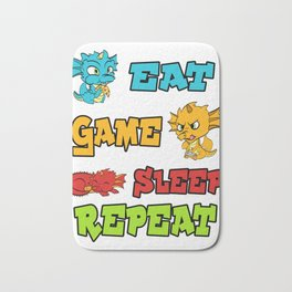 """Unique Basic Game Tee For Gamers """"Eat Game Sleep Repeat"""" T-shirt Design Cute Dragon Console  Bath Mat"""