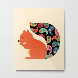 Paisley Squirrel Metal Print