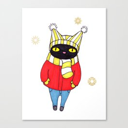 Black Cat Bundled up in Winter Hat, Scarf, Mittens, and Coat Canvas Print