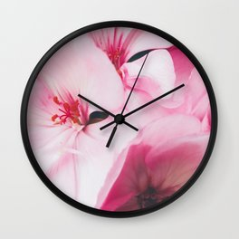 Pastel Pink Petal Flowers Wall Clock