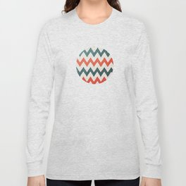 Red and Teal Chevron Long Sleeve T-shirt
