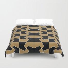 Abstract hexagon periodic tessellation pattern gamboge black Duvet Cover