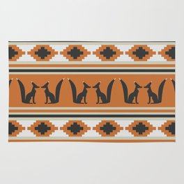 Foxes and ethnic shapes Rug