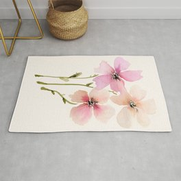 Light Peach, pink watercolor flowers Rug
