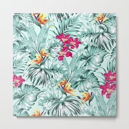 Bird of Paradise Greenery Aloha Hawaiian Prints Tropical Leaves Floral Pattern Metal Print
