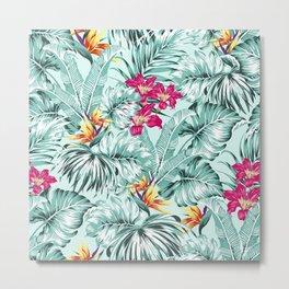 Bird of Paradise Greenery Aloha Hawaiian Prints Tropical Leaves Floral Pattern Metal Print